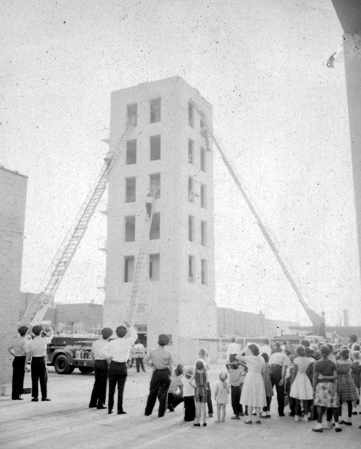 The iconic fire tower used for training drills from the 1950s until the 2000s | Photo courtesy Columbia Fire Department Museum