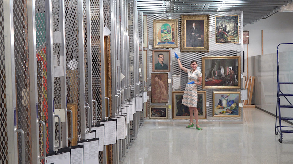 Dr. Catherine Walworth in the Columbia Museum of Art's vault
