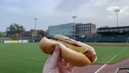 Hot dog with ballpark in background