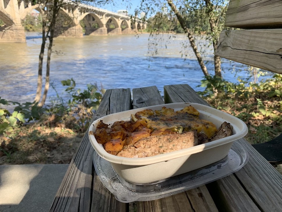 takeout food by river
