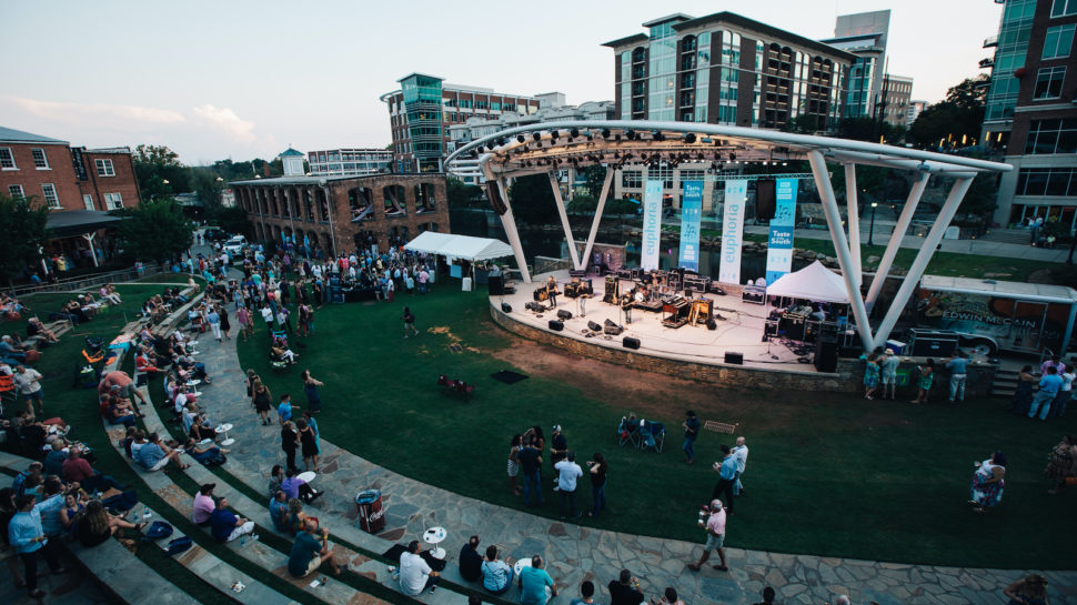 aerial view of band stage