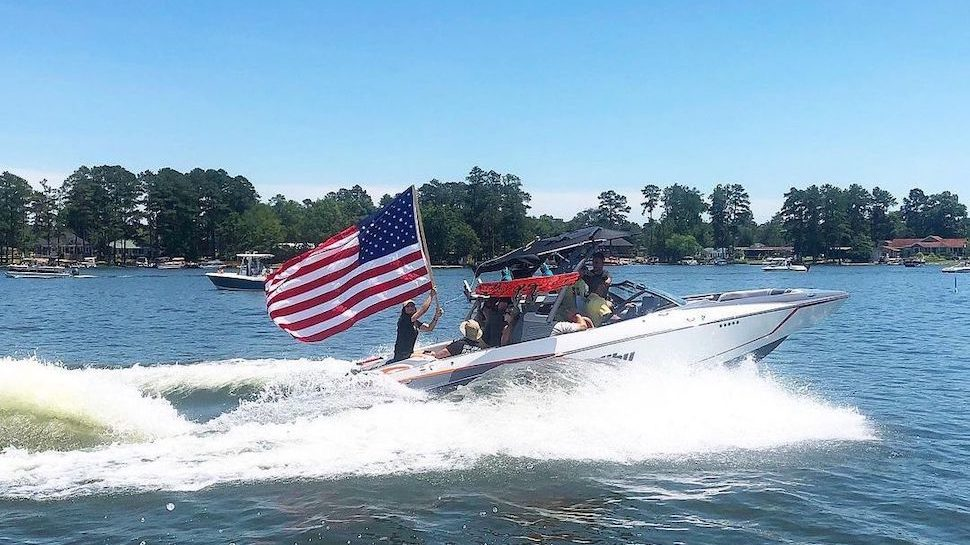 Boat with American flag at Lake Murray
