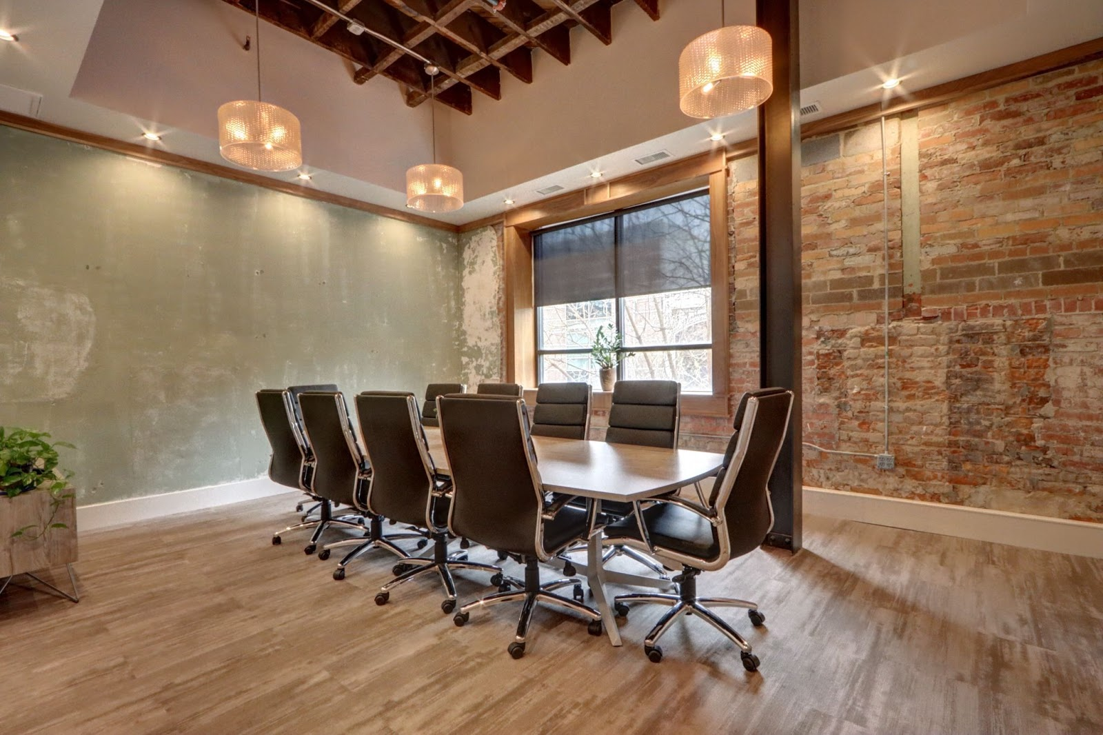 Conference room with stylish lighting