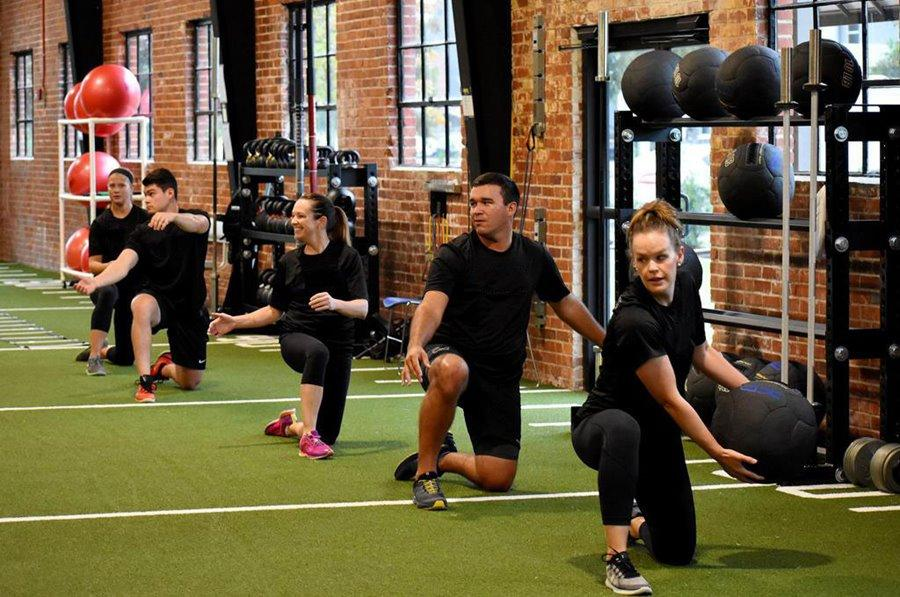 exercise group in gym